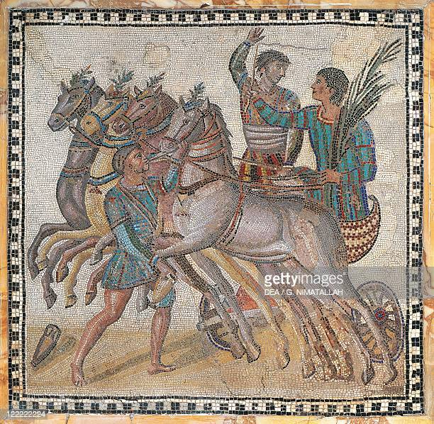 Mosaic work depicting a chariot race