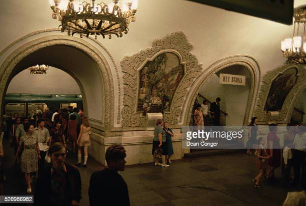 Mosaics and chandeliers dating from the Stalin era adorn the Kiev Station on the Moscow Metro | Location Kiev Station Moscow USSR