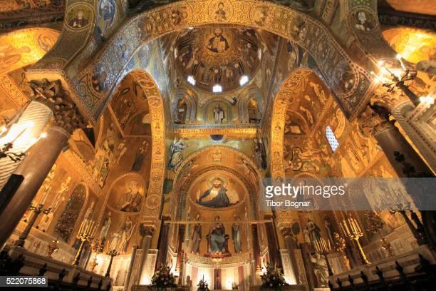 mosaics in capella palatina in palermo, sicily - シチリア パレルモ市 ストックフォトと画像
