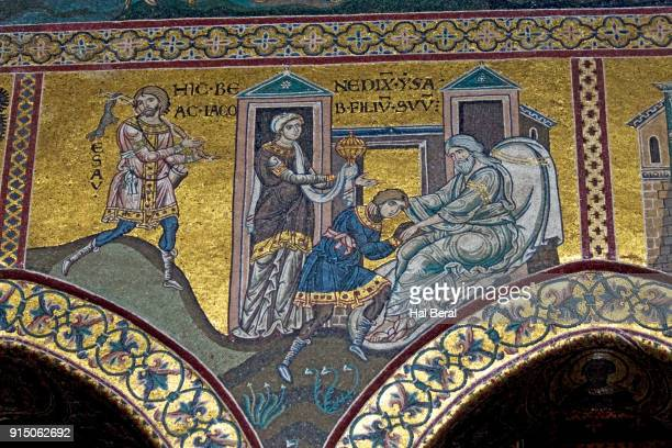 mosaics in the monreale cathedral showing abraham blessing esau by mistake - favorite_son stock pictures, royalty-free photos & images