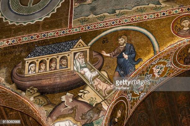 Mosaics in the Palatine Chapel of the Norman Palace with story of Noah