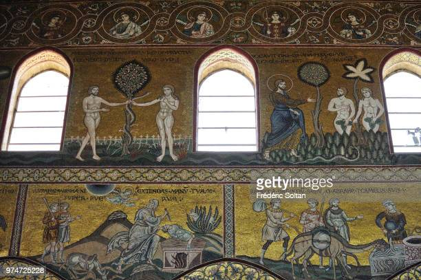 Mosaics inside the cathedral in Palermo on June 10 Italy The cathedral of Monreale is one of the greatest existing examples of Norman architecture...