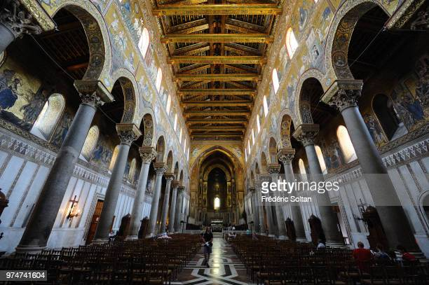 Mosaics inside the cathedral in Palermo on June 10 Italy The cathedral of Monreale is one of the greatest extant examples of Norman architecture...