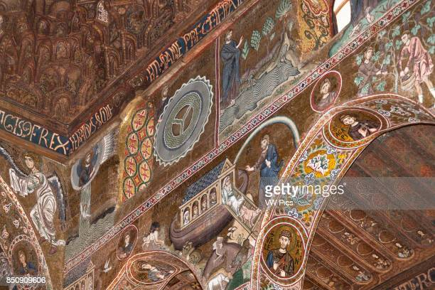 Mosaics of Noahês Ark and the Great Flood in Cappella Palatina Palazzo dei Normanni Palermo Sicily Italy