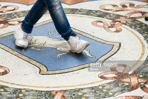 mosaics on the floor of galleria vittorio emanuele ii, milan - bull testicles stock pictures, royalty-free photos & images