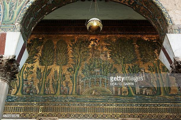 Mosaics on the west porch of Umayyad Mosque also known as the Great Mosque of Damascus old city of Damascus Syria