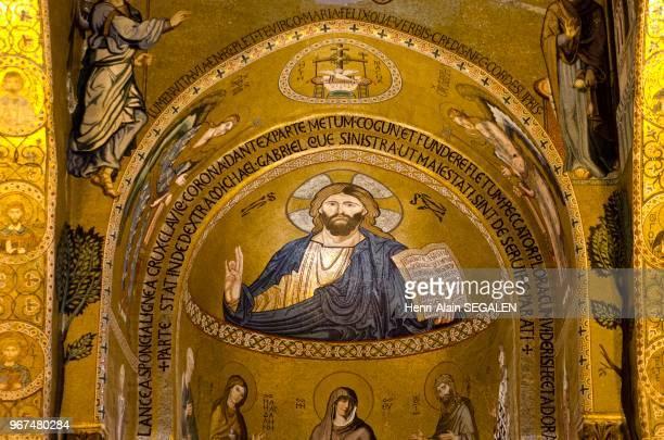 Mosaïques byzantines représentation du Christ dans la chapelle Palatine à Palerme Palais des Normands
