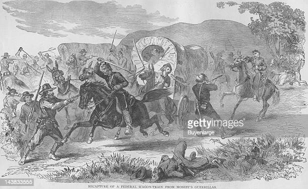 Mosby's Guerrilla raids Federal Wagon Train early to mid 1860s From an issue of Frank Leslie's Illustrated Almanac