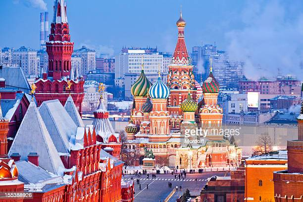 moscow at winter night - russia stock pictures, royalty-free photos & images
