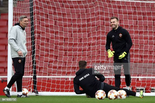 Moscow Captain Igor Akinfeev takes part in a training session ahead of their Europa League 1/4 final 1st leg match against Arsenal at the Emirates...