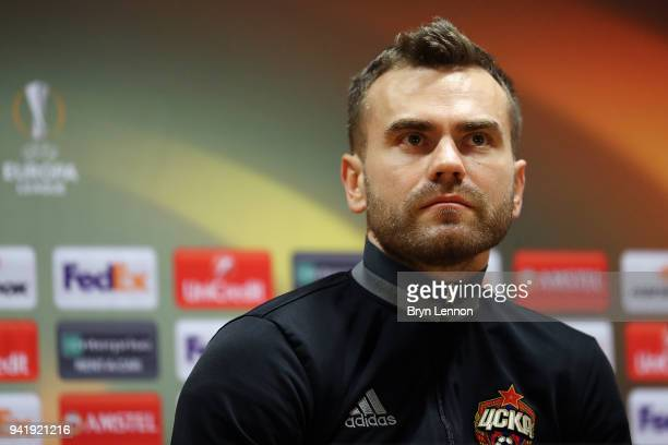 Moscow Captain Igor Akinfeev talks to the media during a press conference ahead of their Europa League 1/4 final 1st leg match against Arsenal at the...