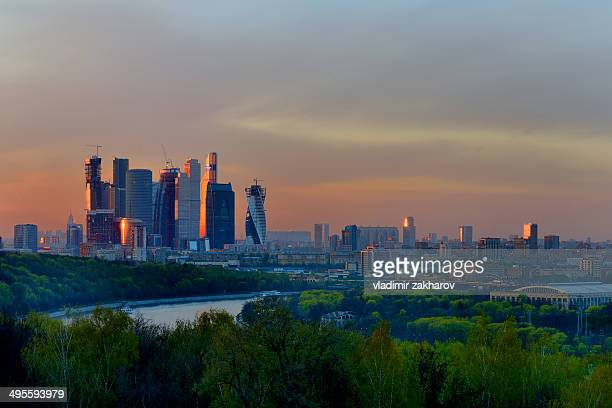 Moscow City and Sparrow Hills at sunset