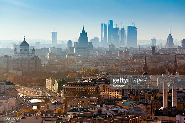moscow city. bird's eye view - moscow russia stock pictures, royalty-free photos & images