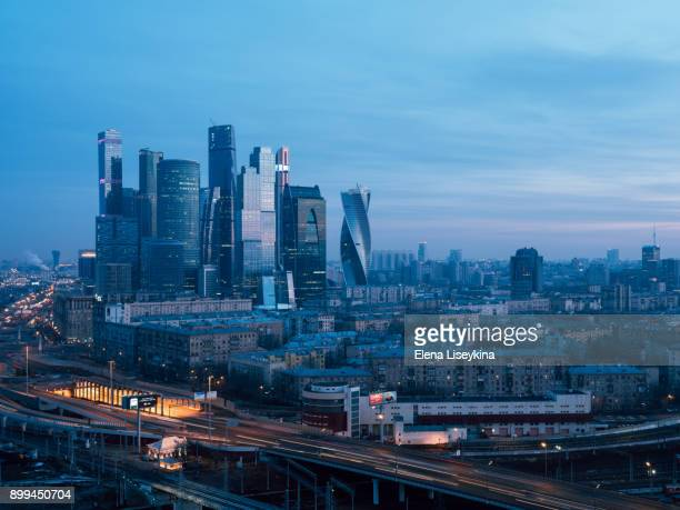 moscow city from above - moscow international business center stock photos and pictures