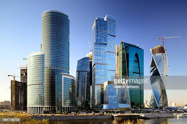 moscow city skyscrapers - moscow international business center stock photos and pictures