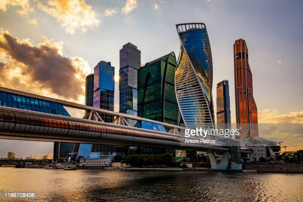 moscow city - view of skyscrapers moscow international business center at sunset - moscow skyline stock pictures, royalty-free photos & images