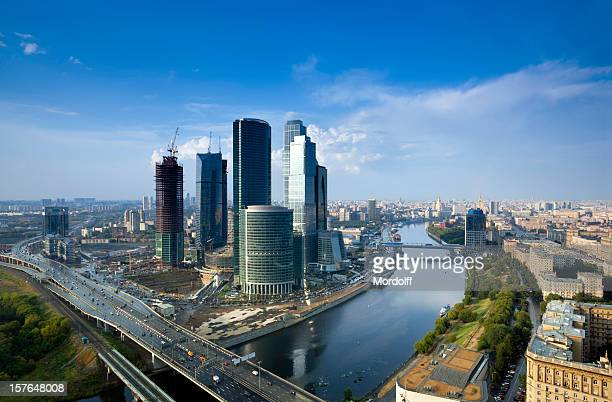 Moscow cityscape after summer rain. Bird's eye view
