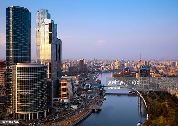 Moscow cityscape at sunset. Aerial view