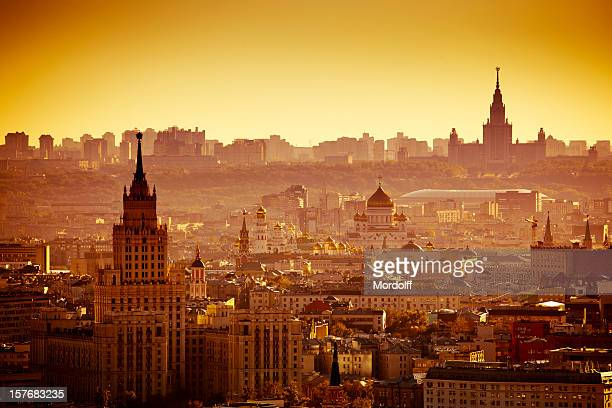 Moscow cityscape at sunset. Bird's eye view
