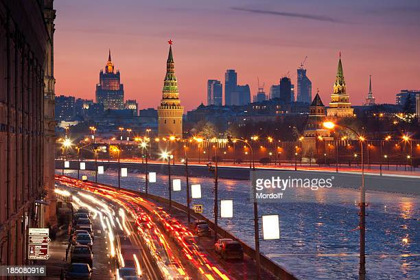 moscow cityscape in winter - moscow russia stock pictures, royalty-free photos & images