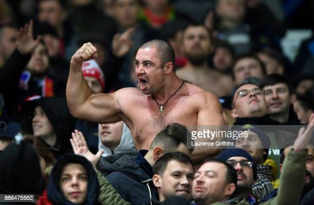 Moscow fan surports his team during the UEFA Champions League group A match between Manchester United and CSKA Moskva at Old Trafford on December 5...