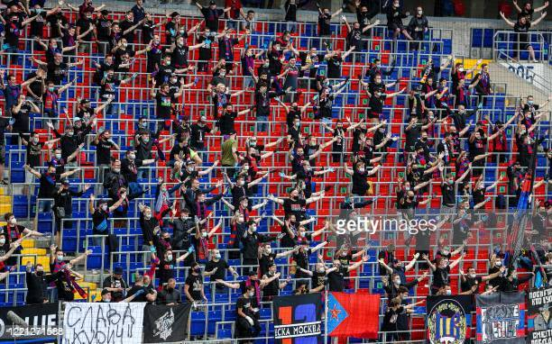 Moscow fans cheer for their team during the Russian Premier League football match between CSKA Moscow and Zenit St Petersburg at the VEB Arena...