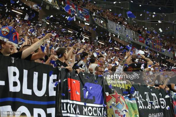 Moscow fans seen during the 2018 Russian Super Cup football match at Nizhny Novgorod Stadium CSKA moscow won the Olimp Super Cup of Russia with a 10...