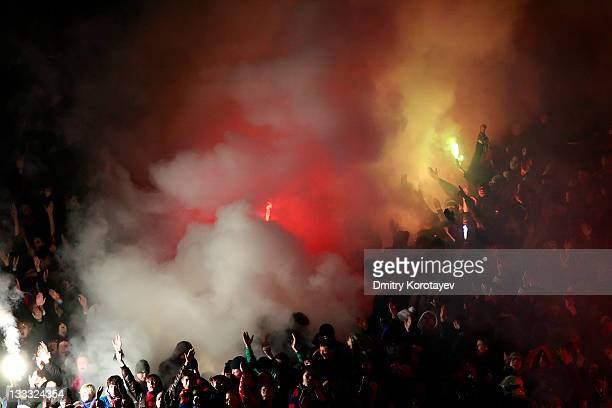 Moscow fans show their support during the Russian Football League Championship match between PFC CSKA Moscow and FC Rubin Kazan at the Luzhniki...