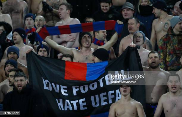 Moscow fans show their support during UEFA Europa League Round of 32 match between Crvena Zvezda Belgrade and CSKA Moscow at the Rajko Mitic Stadium...