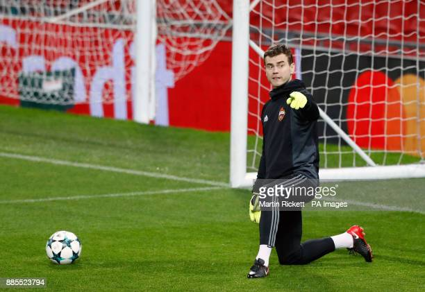 Moscow goalkeeper Igor Akinfeev during the training session at Old Trafford Manchester