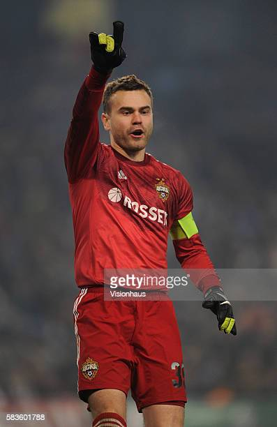 Moscow goalkeeper Igor Akinfeev during the UEFA Champions League Group E match between Manchester City and CSKA Moscow at the Etihad Stadium in...