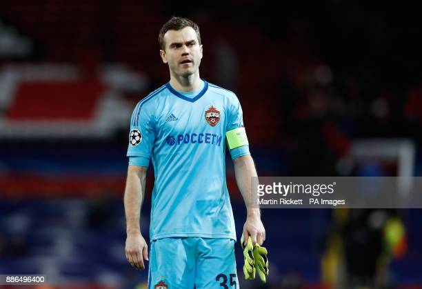 Moscow goalkeeper Igor Akinfeev looks dejected after the UEFA Champions League match at Old Trafford Manchester