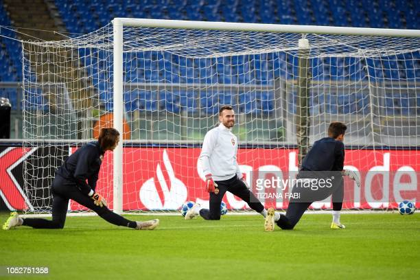 Moscow goalkeeper Igor Akinfeev stretches during a training session at the Olympic stadium in Rome on October 22 on the eve of the UEFA Champions...