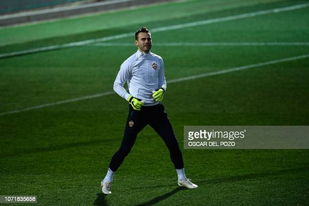 Moscow goalkeeper Igor Akinfeev takes part in a training session at the Ciudad Real Madrid training facilities at Madrid's suburb of Valdebebas on...