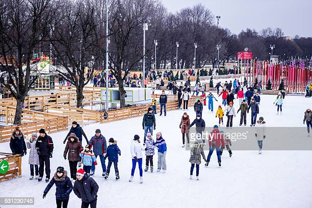 moscow - gorky park - ice rink stock photos and pictures