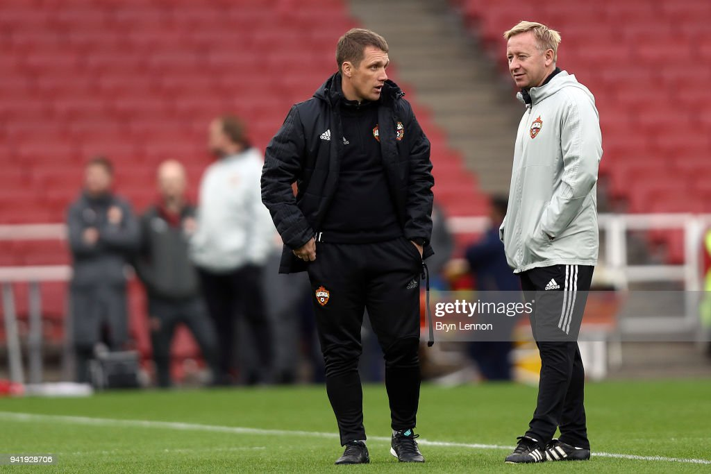Moscow Head Coach Hancharenka Viktor (l) oversees a training session ahead of their Europa League 1/4 final 1st leg match against Arsenal at the Emirates Stadium on April 4, 2018 in London, England.