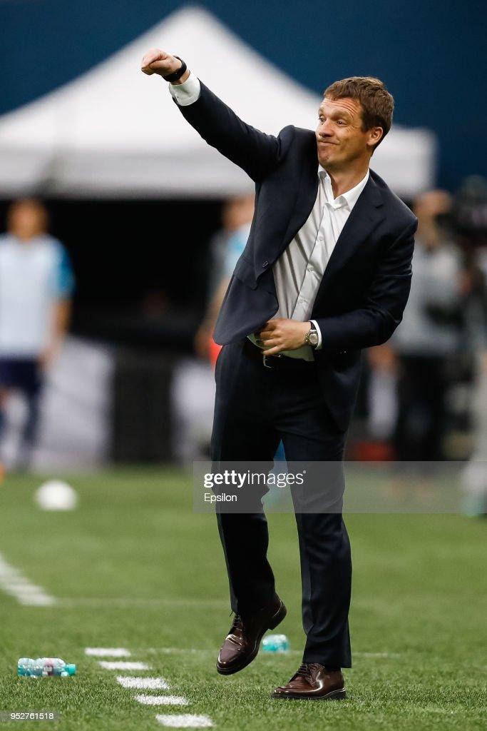 Moscow head coach Viktor Goncharenko gestures during the Russian Football League match between FC Zenit Saint Petersburg and PFC CSKA Moscow on April 29, 2018 at Saint Petersburg Stadium in Saint Petersburg, Russia.