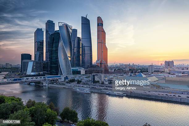 moscow international business center and urban skyline after sunset - moscow russia stock photos and pictures