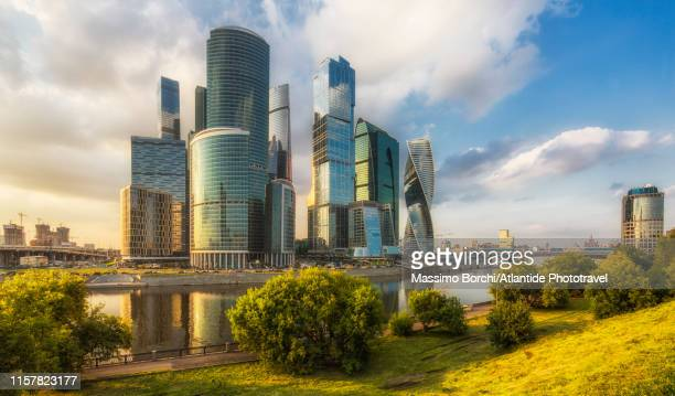 moscow international business centre (mibc) - futuristic stock pictures, royalty-free photos & images
