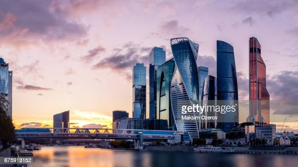 moscow international business centre skyscrapers - moscow russia stock pictures, royalty-free photos & images