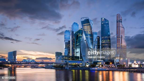moscow international business centre skyscrapers - moscow international business center stock photos and pictures