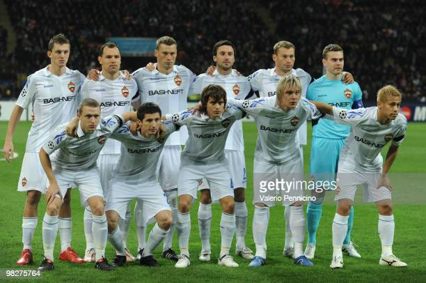 Moscow line up prior to the UEFA Champions League Quarter Finals First Leg match between FC Internazionale Milano and CSKA Moscow at Giuseppe Meazza...