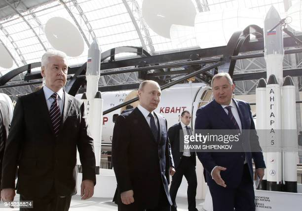 Moscow Mayor Sergei Sobyanin Russian President Vladimir Putin and Russian Deputy Prime Minister and Head of ROSCOSMOS Supervisory committee Dmitry...