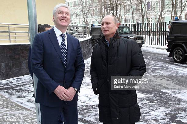 Moscow Mayor Sergey Sobyanin and Russian President Vladimir Putin visit Sambo70 a Russian martial art and combat sport school March 13 2013 in Moscow...