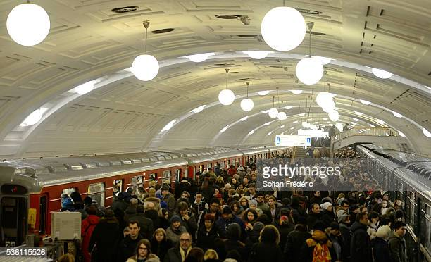 moscow metro station during rush hour - moscow metro stock pictures, royalty-free photos & images