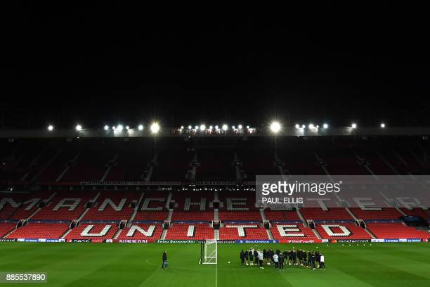 Moscow players attend a training session at Old Trafford in Manchester northwest England on December 4 on the eve of their UEFA Champions League...