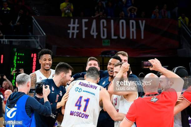 Moscow players celebrate after winning the EuroLeague final basketball against Anadolu Efes at the Fernando Buesa Arena in Vitoria on May 19 2019