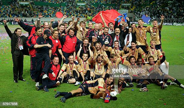 Moscow players celebrate victory following the UEFA Cup Final between CSKA Moscow and Sporting Lisbon at the Jose Alvalade Stadium on May 18, 2005....