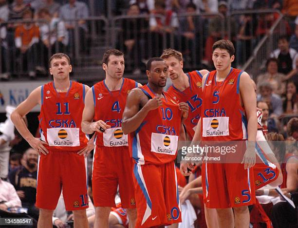 Moscow players wait to commence play during the NBA Europe Live Tour presented by EA Sports on October 10 2006 at the Koeln Arena in Cologne Germany