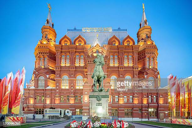 moscow red square state historical museum at night - red square stock pictures, royalty-free photos & images
